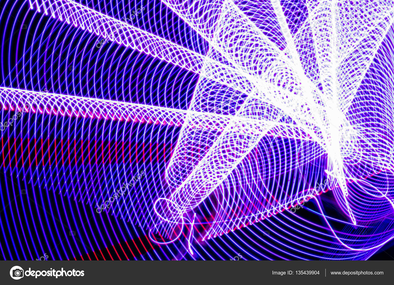 Light effects with blurred magic neon light curved lines