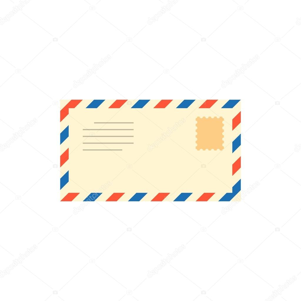 vintage envelope, email, or air mail icon with stamp, post mail