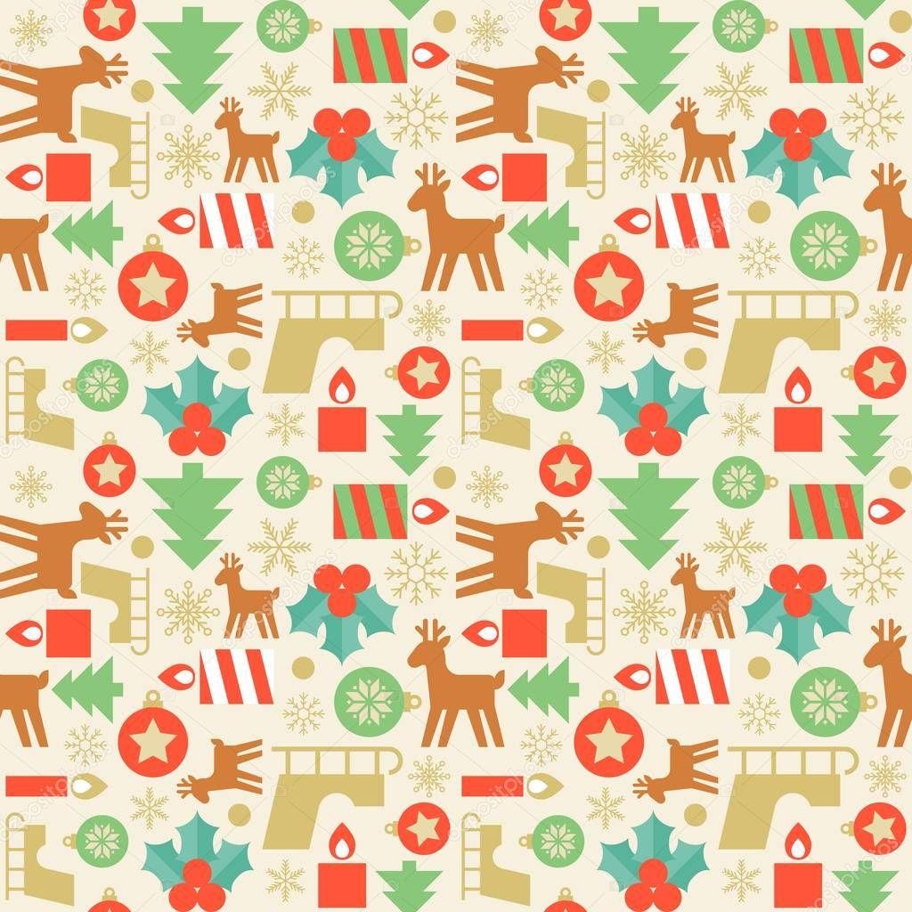 Naadloze patroon behang van kerstboom kaars kerst for Reno behang