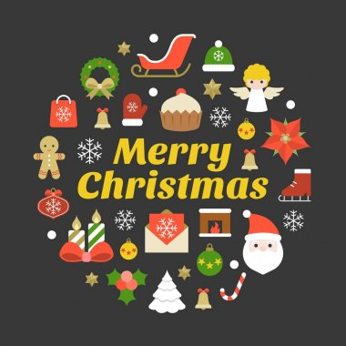 Merry christmas typography font and icon on black background, flat design poster pictogram