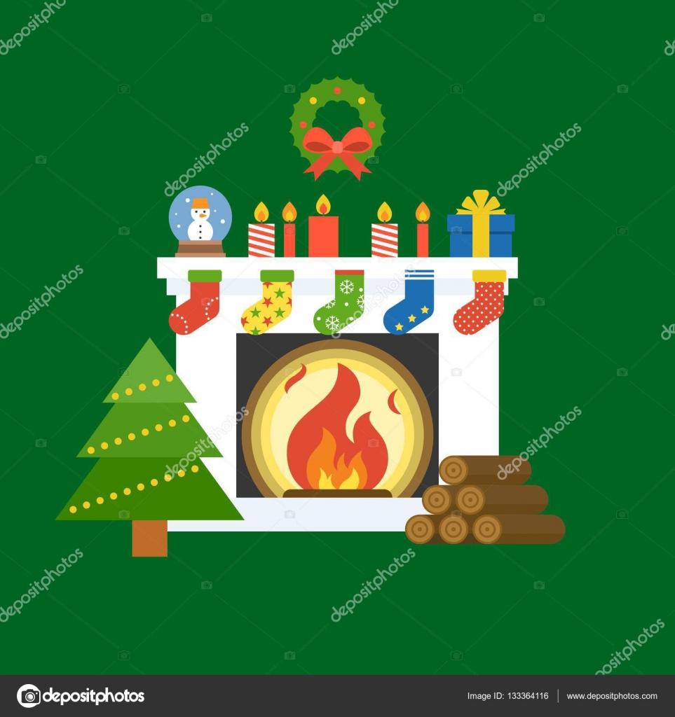 Illustration von Kamin, Weihnachtsbaum, Kranz, Kerze, Socken, Globus ...