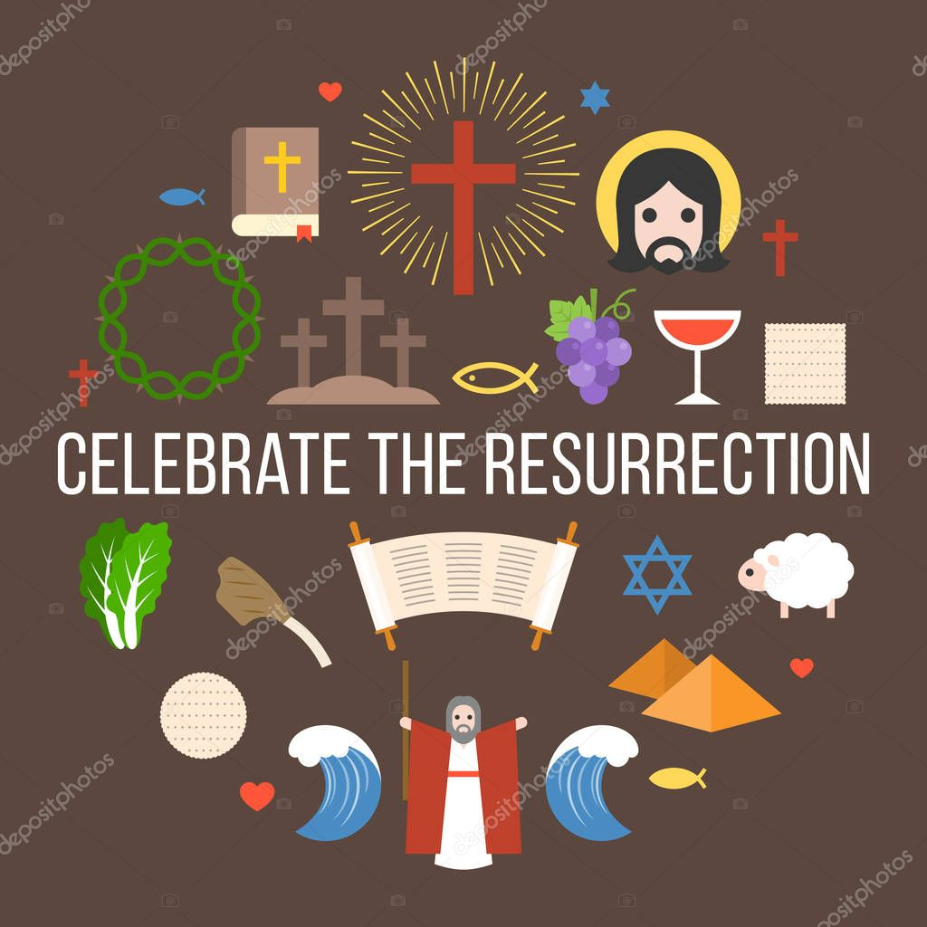 Celebrate the resurrection of jesus, info graphic for easter and passover