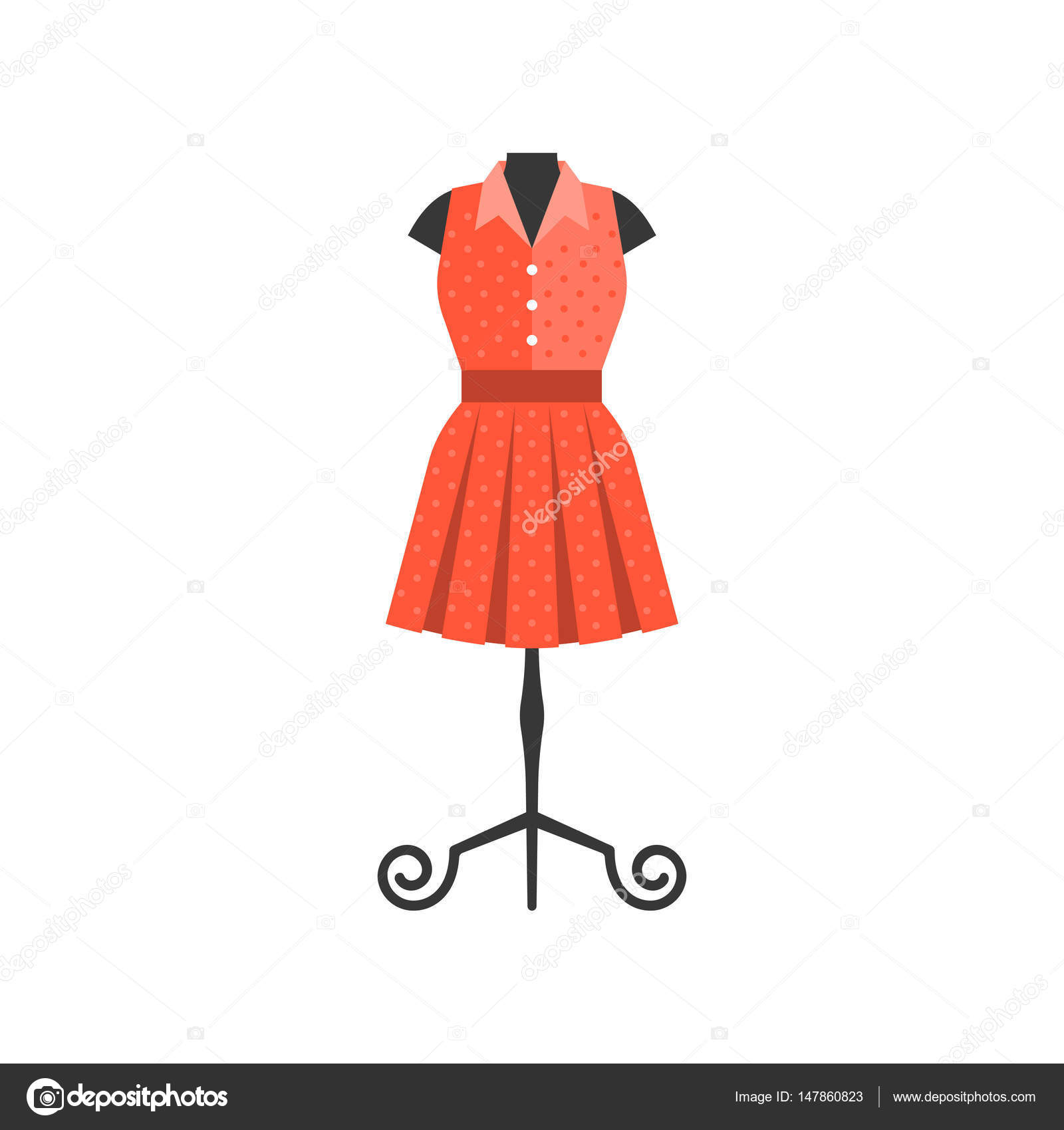 3cb5a11128c984 Rode jurk in zwart mannequin voor kleermaker en boutique winkel ...