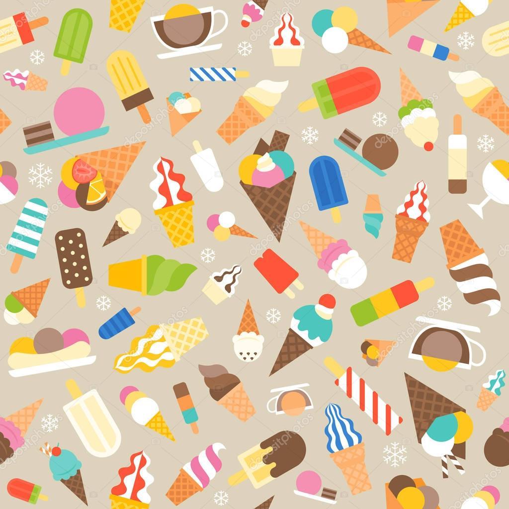 Seamless Ice Cream Background Vintage Style: Helados De Patrones Sin Fisuras, Servicio Suave Y Paletas