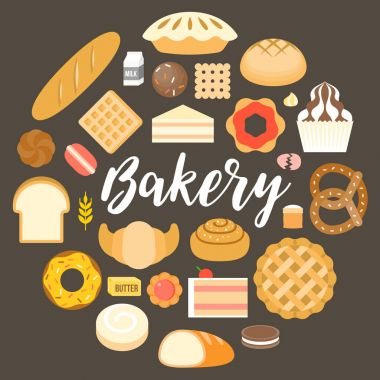 Bakery headline and bakery products arrange in circle shape, flat design vector for poster or banner