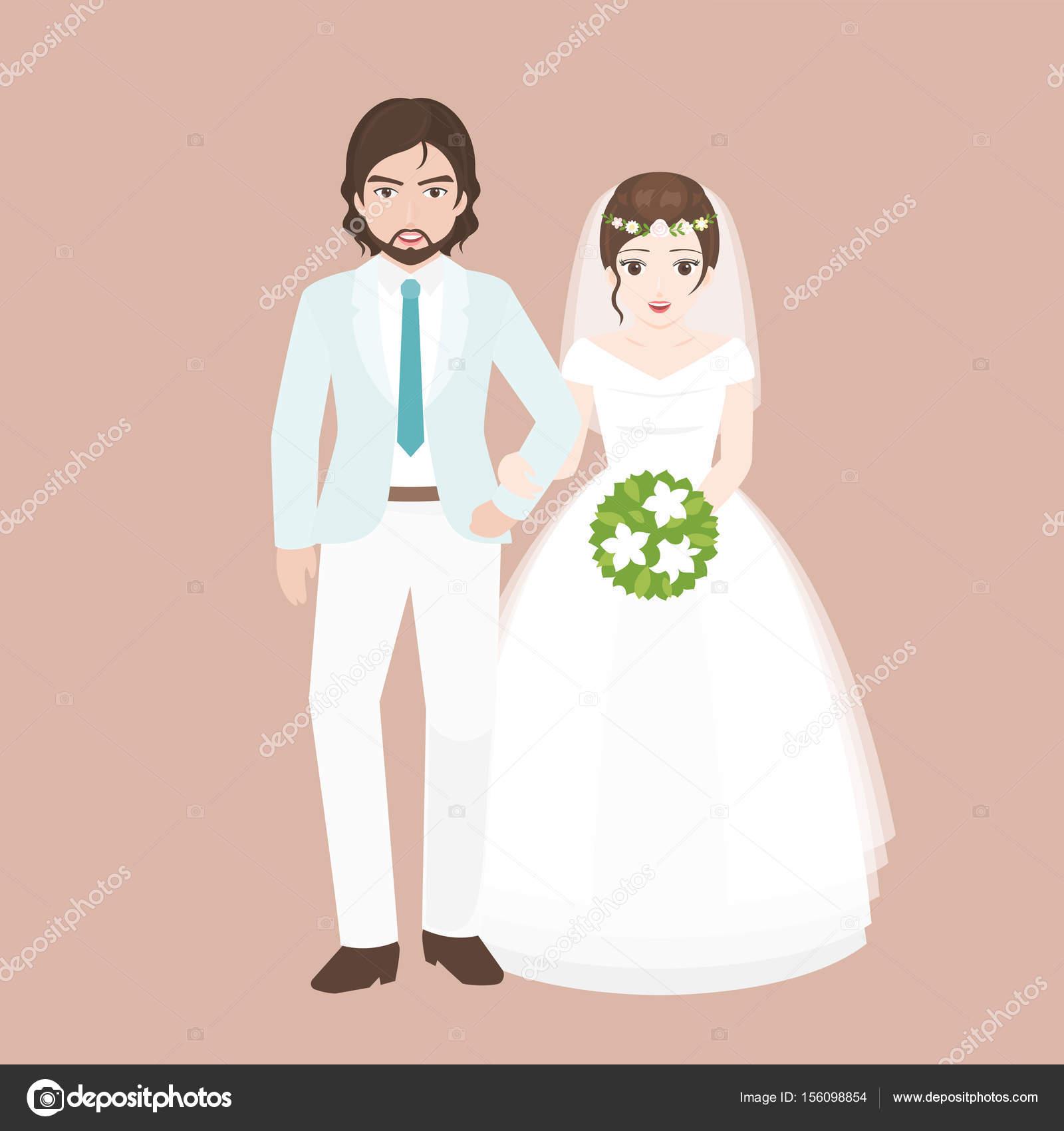 Novio a pie brazo en brazo con puente, pareja amante en concepto de ...