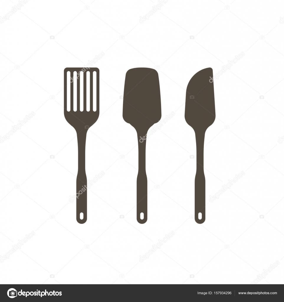 set di utensili da cucina in icona del design di sagoma — Vettoriali ...