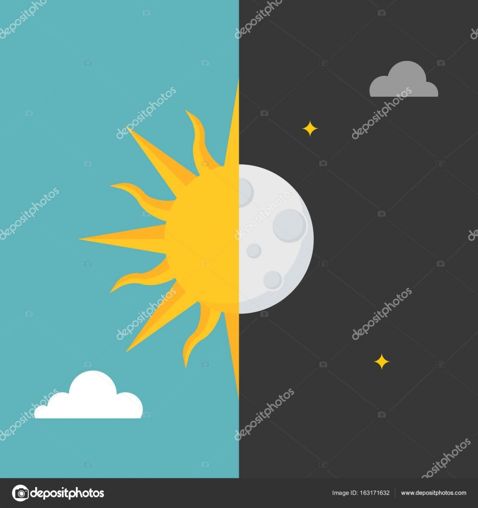 Sun And Moon Icon On Day And Night Background For Use In Weather