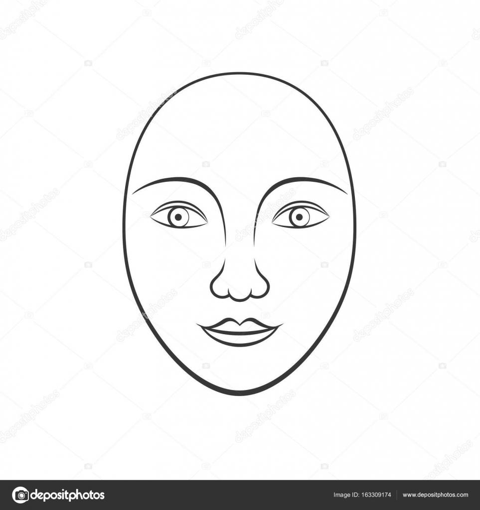 arte de línea simple rostro humano, adecuado para uso en cosméticos ...