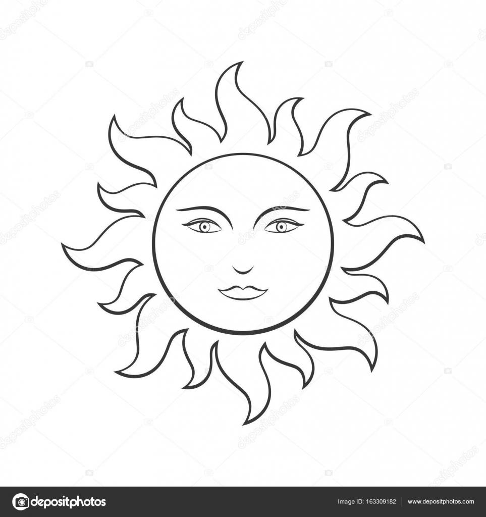 El sol con cara, línea de ilustración para colorear — Archivo ...