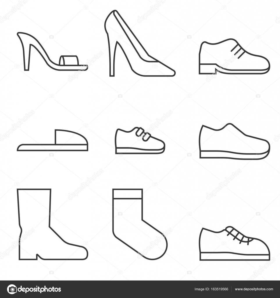 Imágenes Zapatos Para Colorear Para Niños Tipo De Icono De La