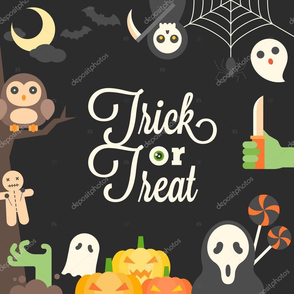 Halloween Plakat, süsses oder Saures kalligraphische und niedlichen ...