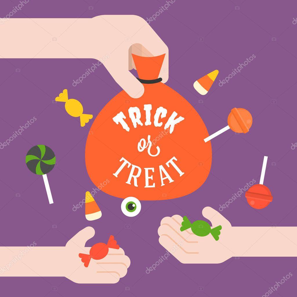 Erwachsene geben Süßigkeiten für Kinder mit süsses oder Saures ...