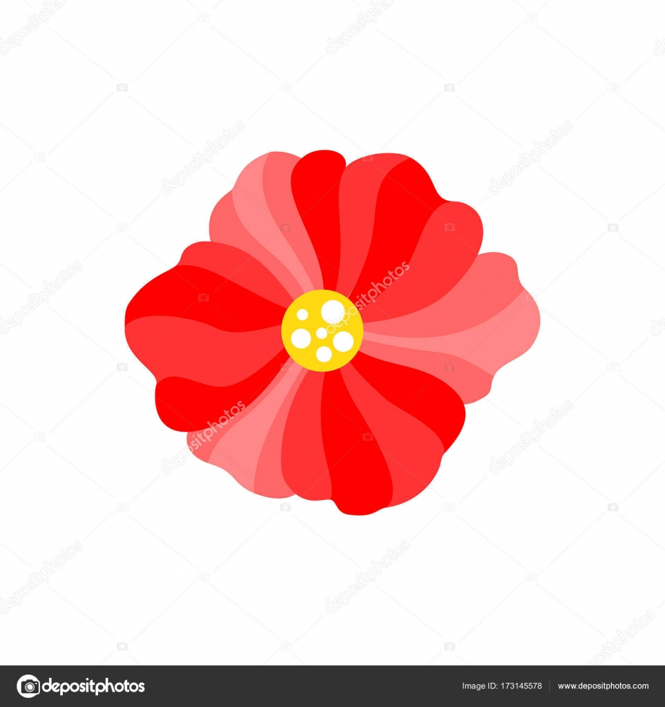 Vector Simple Red Flower With Yellow Center Flat Design Stock