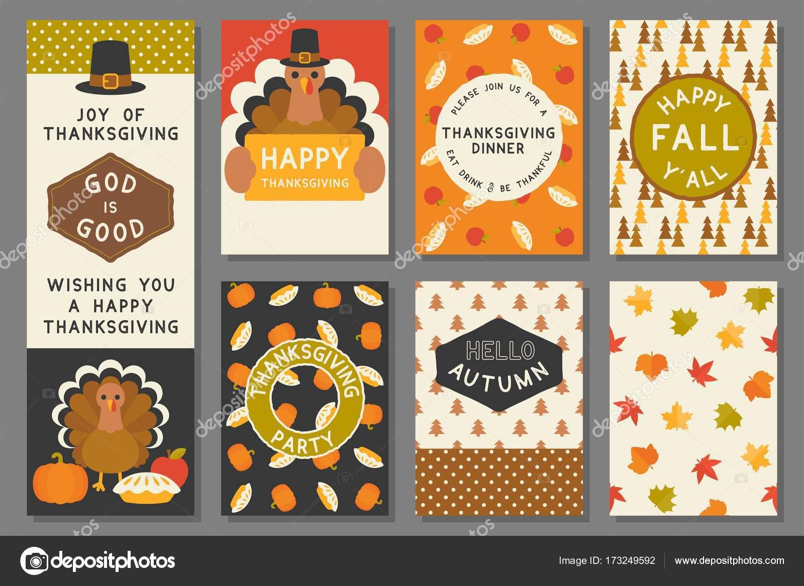 plantilla de tarjeta de feliz día de gracias, invitación, elementos ...