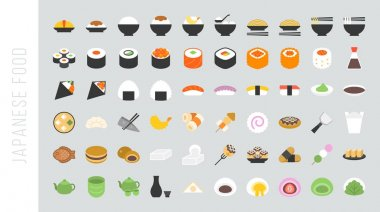 Big set of japanese food and beverage flat icon