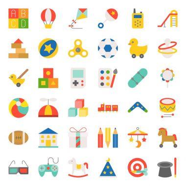 Children toy such as ball, rocking horse, blocks, balloon, flat icon set 2/3