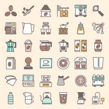 Coffee brew equipment for coffee shop, filled bold line icon vector