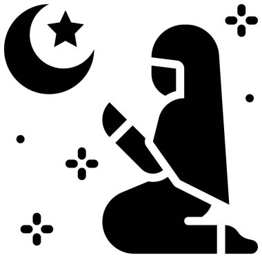 Islamic prayer icon, ramadan festival related vector illustration