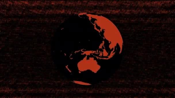 Ein Computer generierte Animation einer stilisierten rotierenden Erde auf einem Hintergrund digitaler statischer Geräusche