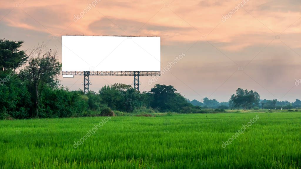 Blank billboard with sky at sunset