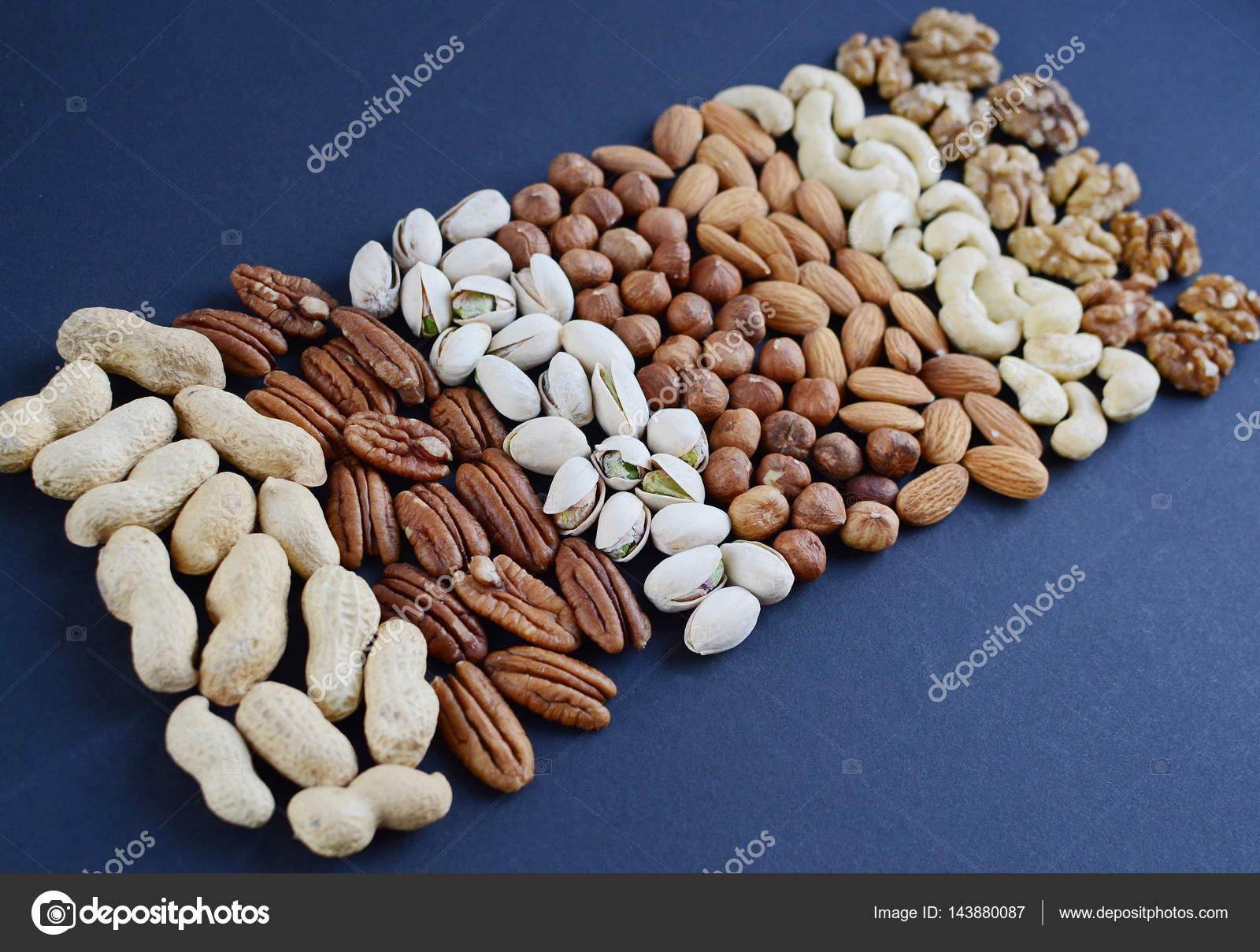 Assorted mixed nuts, peanuts, almonds, walnuts, pistachios