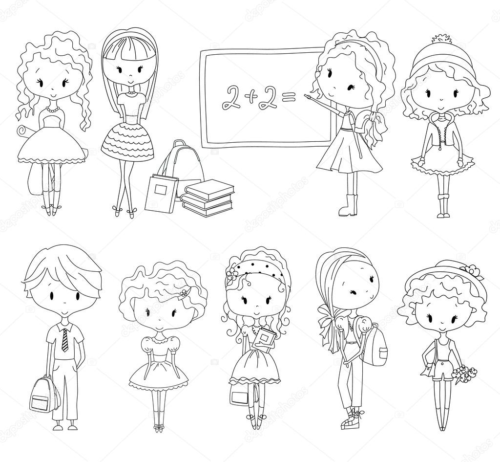 Pupila de libro para colorear Vector adulto. Niños de la escuela ...
