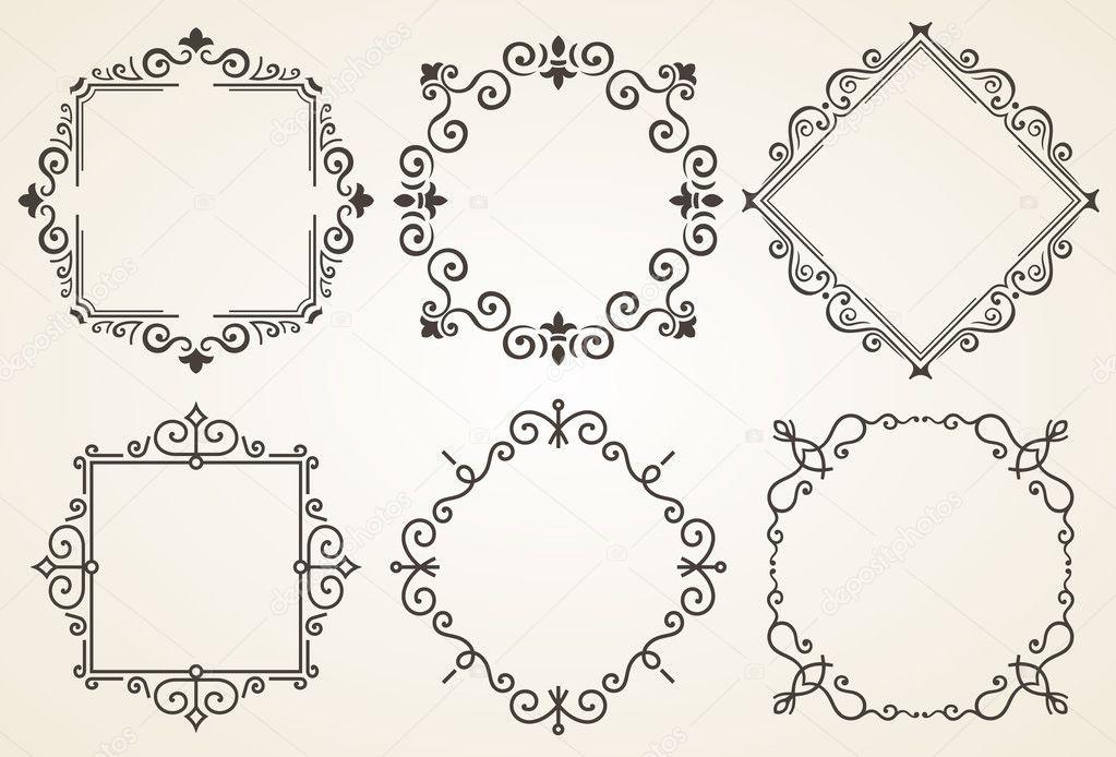 Conjunto de Marcos decorativos vector ilustración. Marco de lujo ...