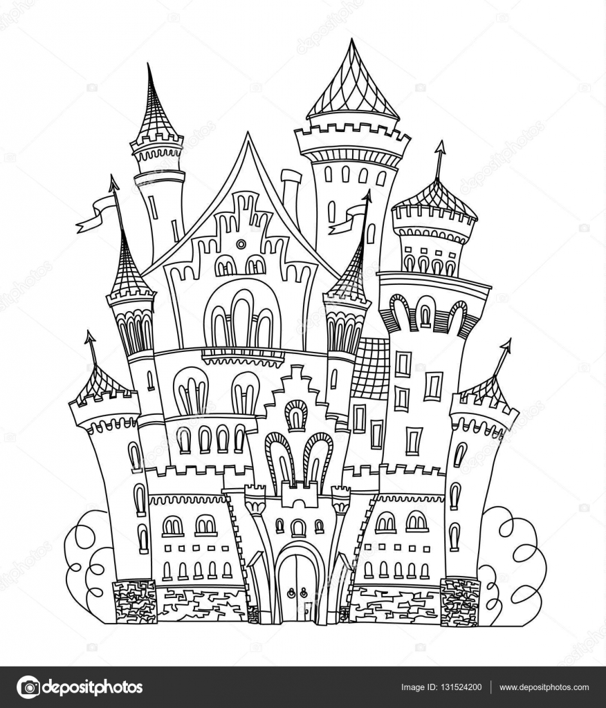Castle coloring book for adults and children vector illustration ...