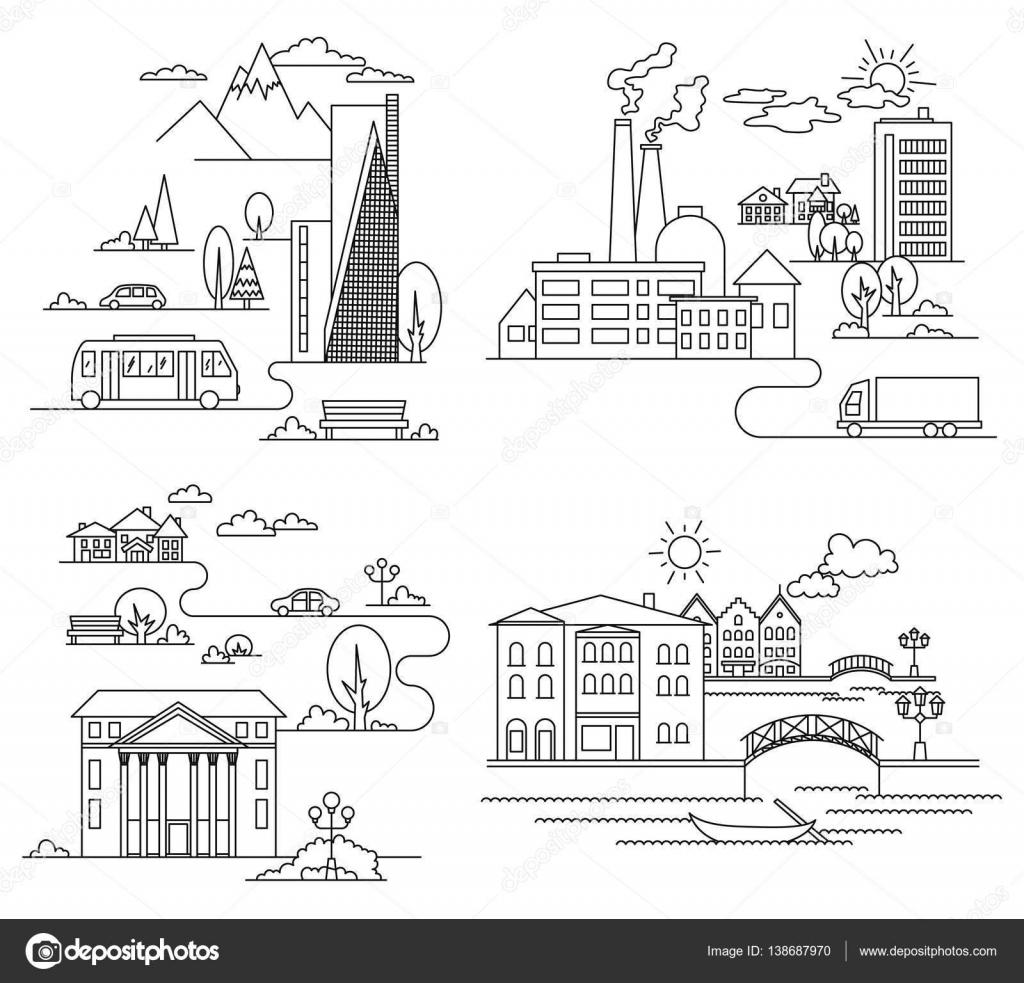 Vektör şehir çizimde Doğrusal Stil Binalar Ve Bulutlar Grafik