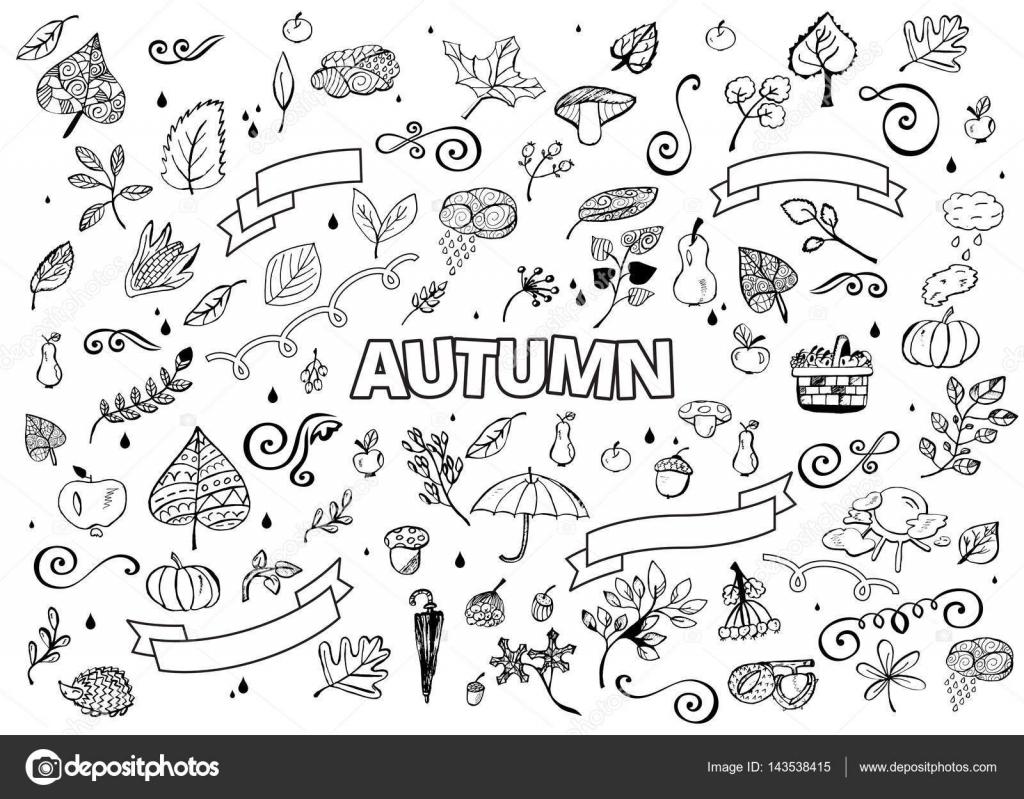 Vektör Farklı El çizilmiş Sonbahar Tasarım öğeleri Kümesi Vektör