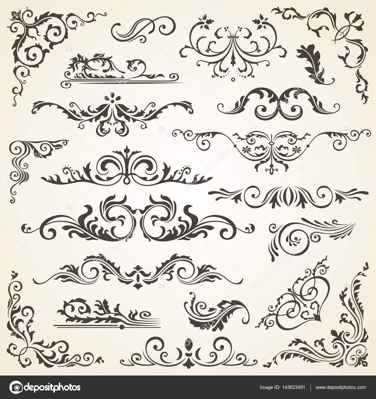 Conjunto de vector de elementos del remolino para el - Pagina de decoracion ...