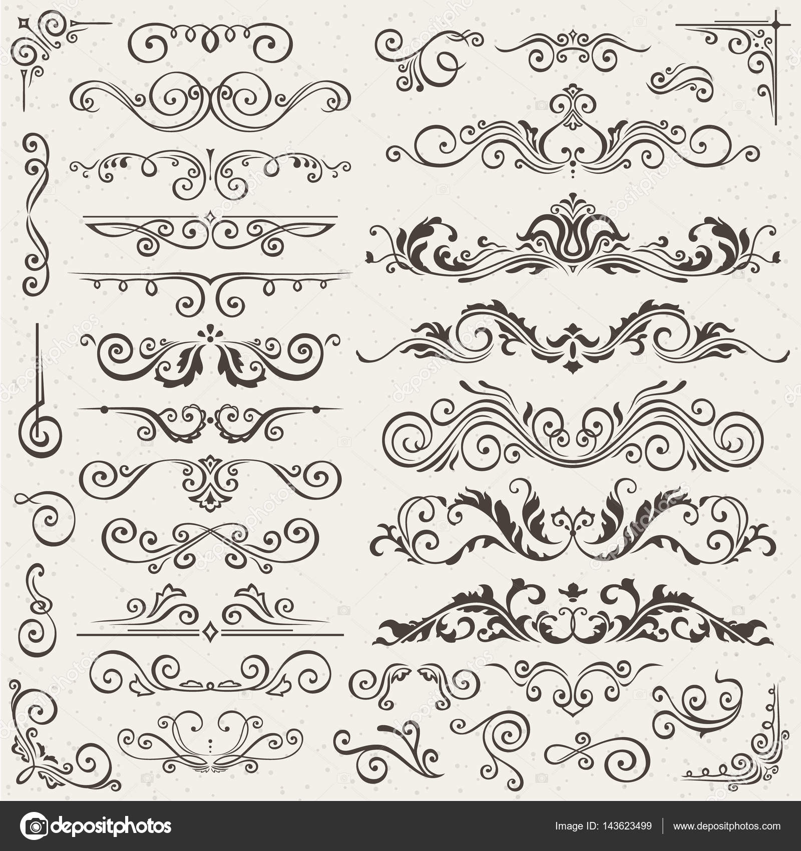 Karte Einladung Vektorelemente. Viktorianische Grunge Kalligraphische.  Hochzeits Einladungen Festgelegt. Mittelalterliche Ornament Grenzen.
