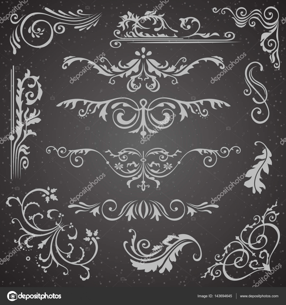 Dark flourish border corner and frame elements collection vector vector card invitation elements victorian grunge calligraphic frame elements wedding invitations set medieval ornament borders silhouette vector by stopboris Choice Image