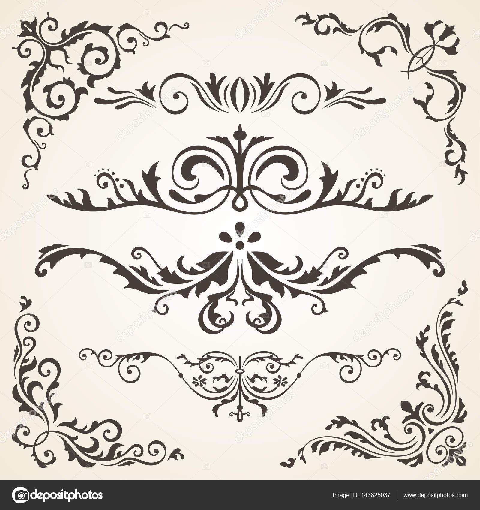 Éléments de dessin calligraphique et la décoration de la page