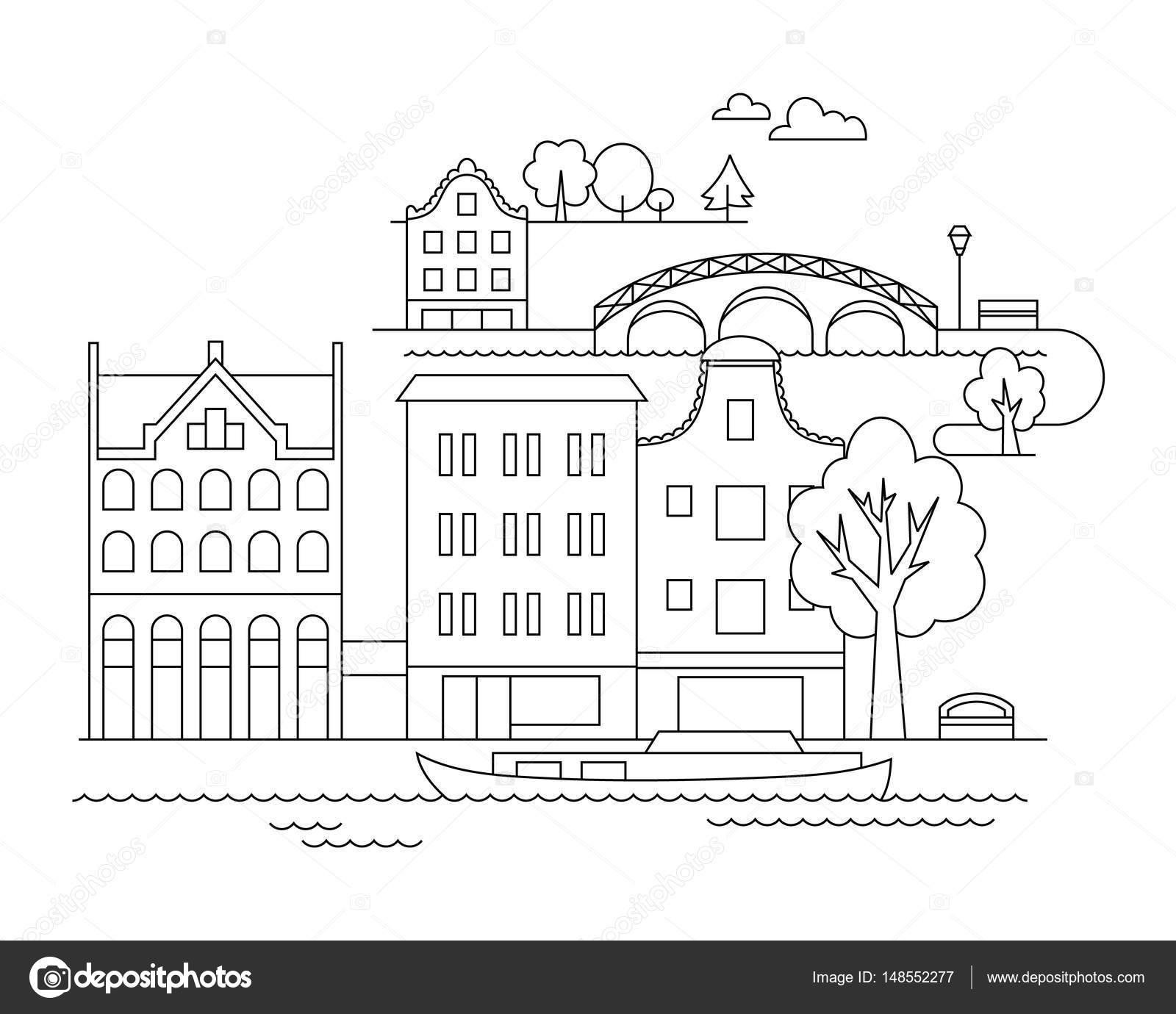 Plantillas De Nubes Para Colorear Ilustración De Ciudad