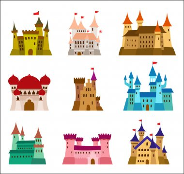 Castles and fortresses flat design vector icons. Set of illustrations of ruins, mansions, palaces, villas and other medieval buildings