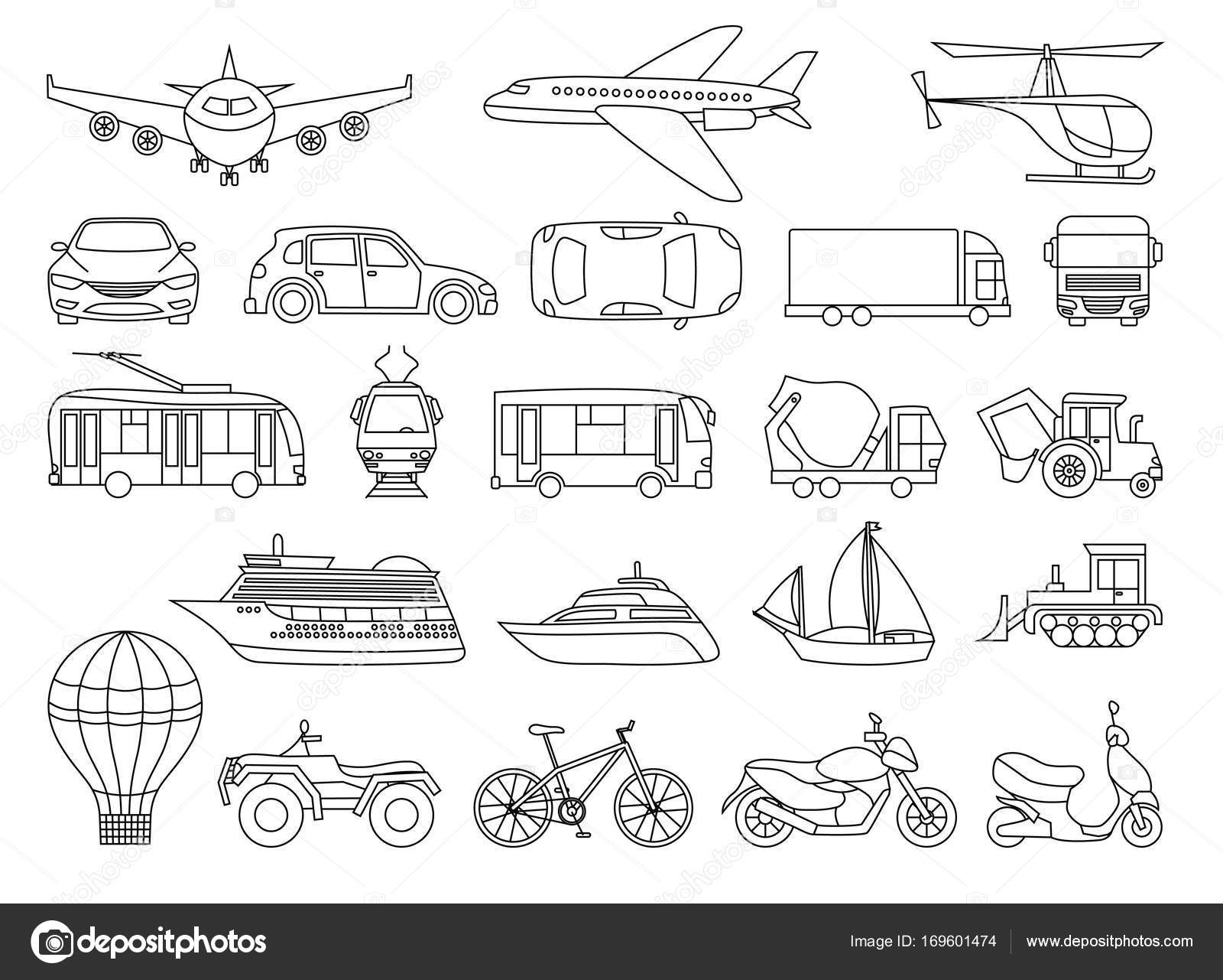 Toy Transport Set to be colored. Coloring book to educate kids ...