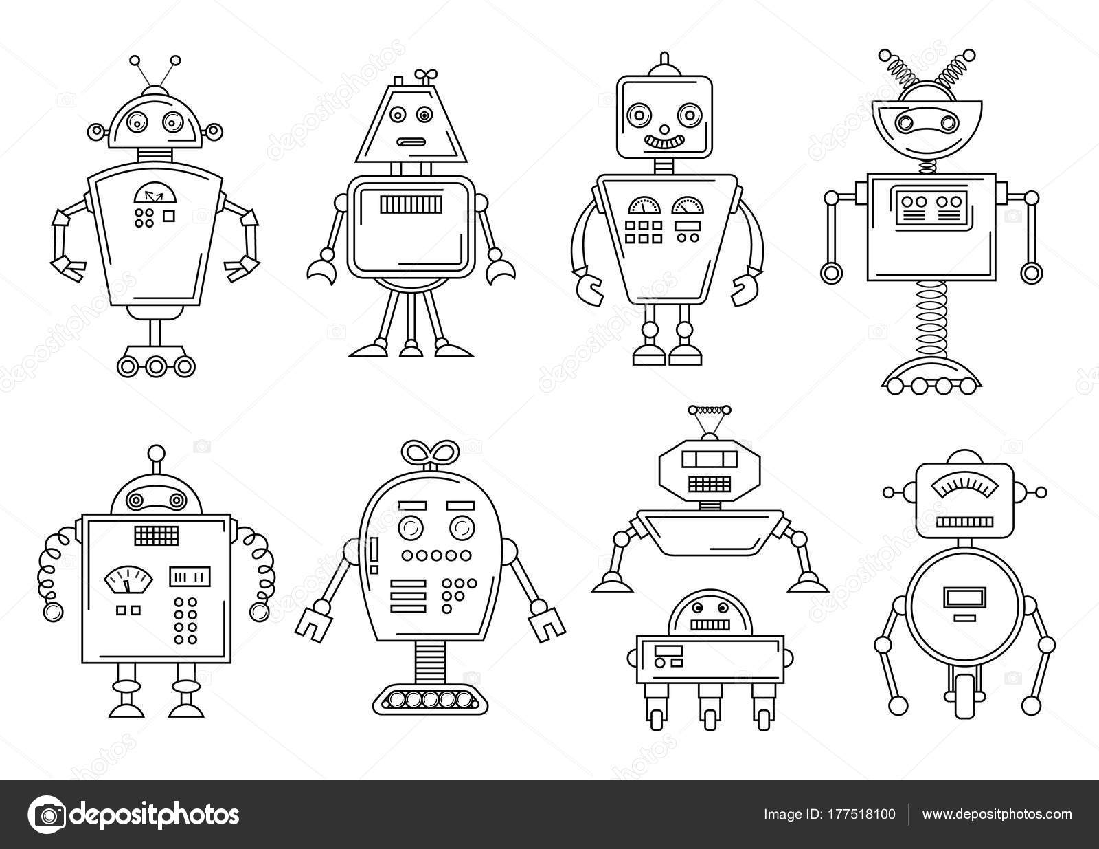 Vektör çizim Bir Robot Mekanik Karakter Tasarımı Dört Farklı