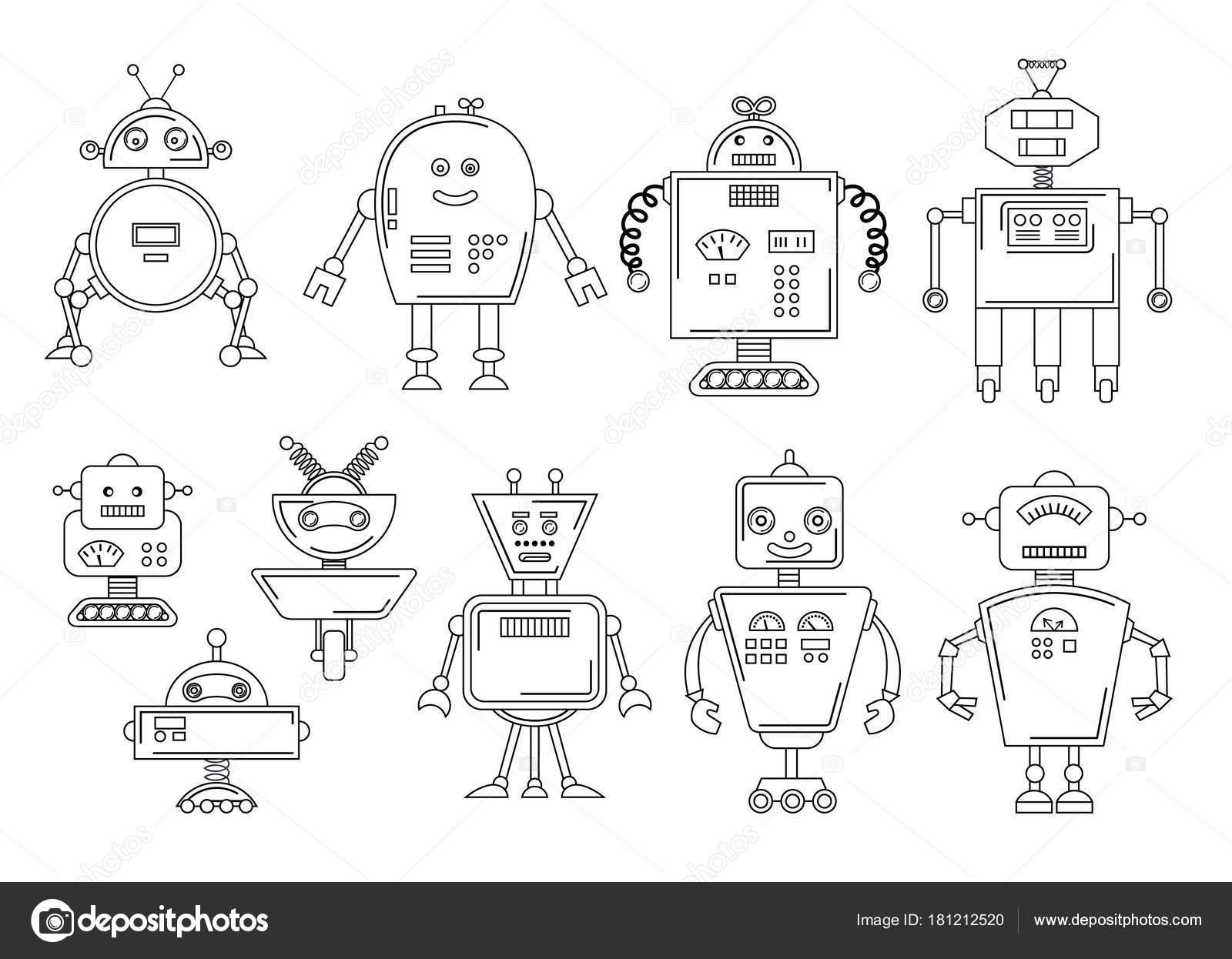 ilustração em vetor de um robô desenho mecânico conjunto de quatro