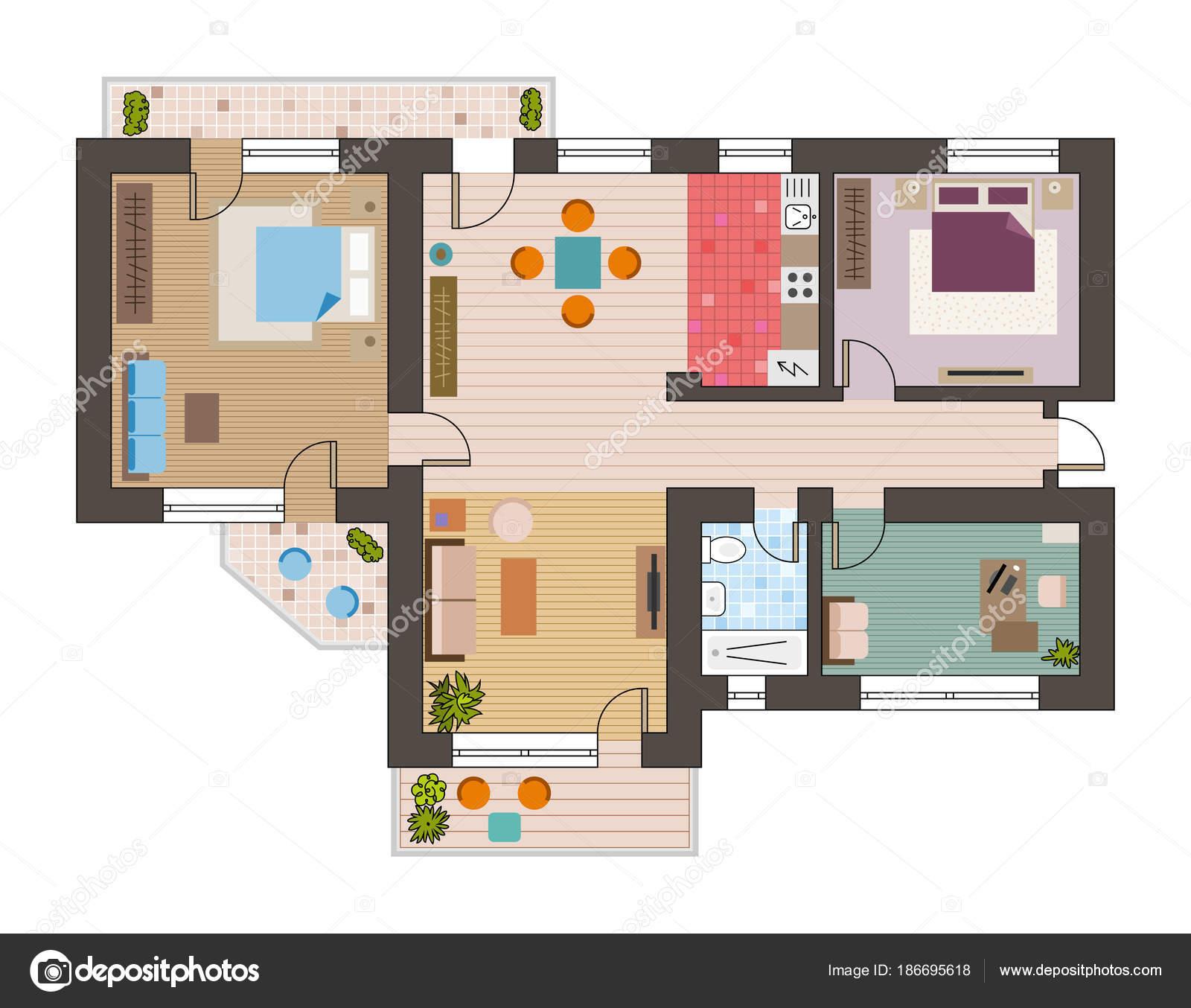 Vista Superior Do Plano Liso Arquitectónico Com Salas