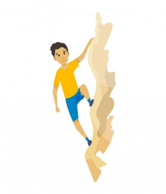 Boy climbing on a rock mountain without equipment. Extreme outdoor sports. Climbing the mountains. Vector illustration