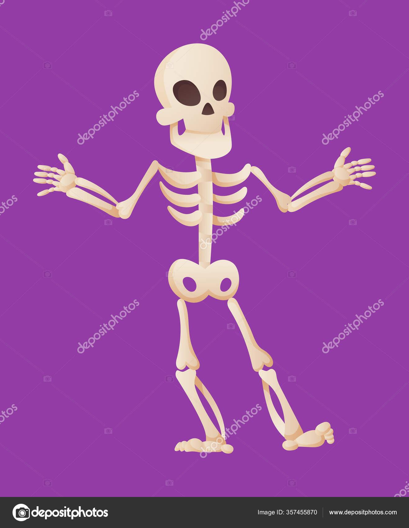 Drôle de squelette de dessin animé écarte les mains. Caractère vectoriel osseux. Illustration ...