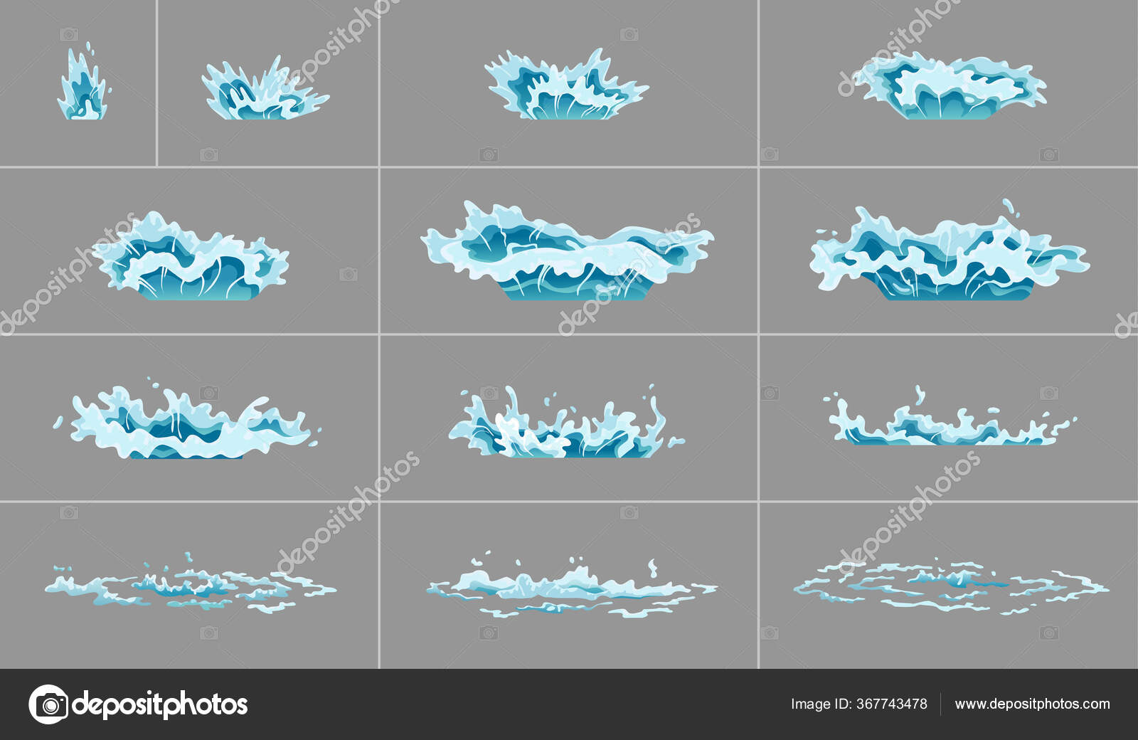 sprite water splash animation shock waves on transparent background spray motion spatter blast drip clear water frames for flash animation in games video and cartoon stock vector c the8monkey gmail com 367743478 https depositphotos com 367743478 stock illustration sprite water splash animation shock html