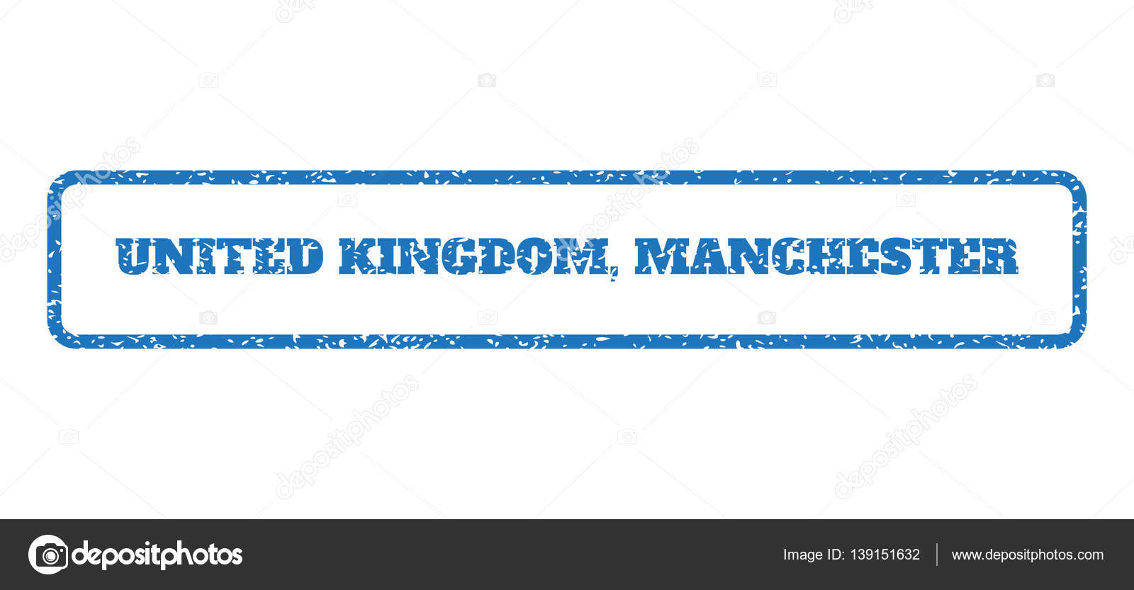 Blue Rubber Seal Stamp With United Kingdom Manchester Text Vector Message Inside Rounded Rectangular Banner Grunge Design And Dirty Texture For Watermark