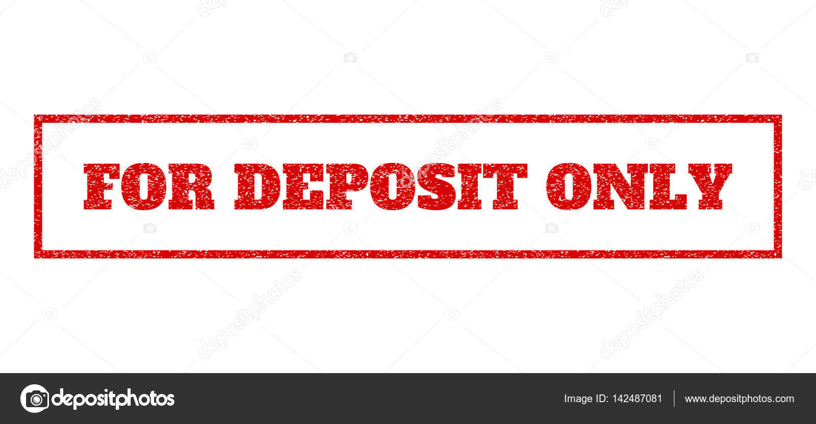 For Deposit Only Rubber Stamp Stock Vector