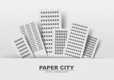 Vector illustration: Paper buildings on a light background: stickers, city.