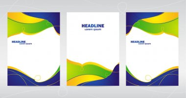 Three abstract template design of brochures with colored lines and waves.