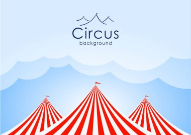 Circus background with blue sky, clouds and tents.