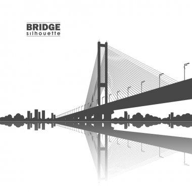 Vector illustration: Silhouette of South Bridge. Kiev